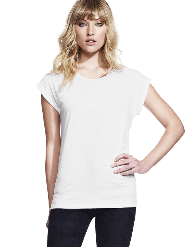 Women's rolled sleeve tunic t-shirt